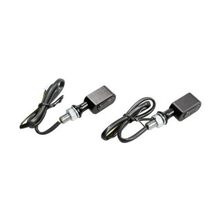Universal Motorcycle Fastline LED turn signal set. Black, smoke lens